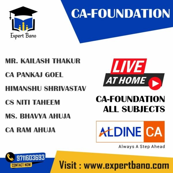 CA FOUNDATION ALL SUBJECTS LIVE AT HOME ALDINE