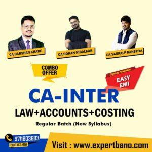 15 CA INTER LAW+ACCOUNTS+COSTING COMBO BY CA DARSHAN KHARE & CA ROHAN NIBLKAR & CA SANKALP KANSHTYA