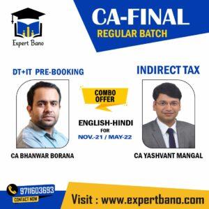 DIRECT TAX INDIRECT TAX REGULAR CA YASHVANT MANGAL CA BHANWAR BORANA PRE BOOKING